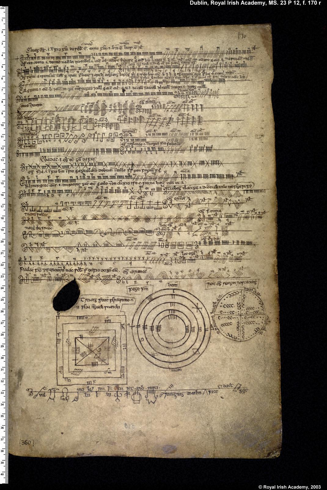 An example of written or manuscript Ogham, a later Medieval development of the alphabet (Íomhá: DIAS)