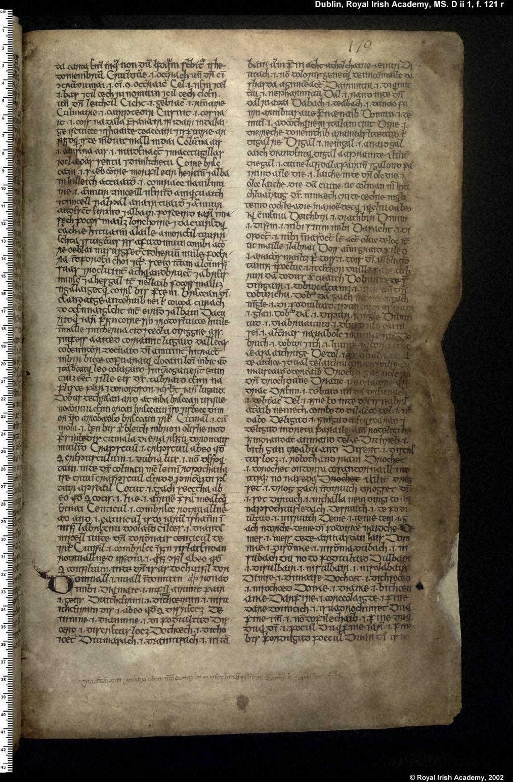 Book of Uí Maine (Dublin, RIA, MS D ii 1), fols. 177r–84ra [119r–126ra]